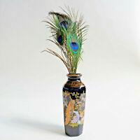 Lambrou Bros Vintage porcelain Vase original 24k gold Greece Peacock 6.5in
