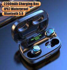 Wireless Headphones Bluetooth V5.0 Earphones LED Display 2200mAh Charging Box