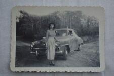 Vintage Car Photo Woman w/ 1948 Studebaker Champion 845