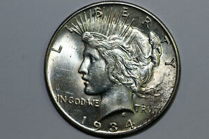 Better Date 1934-S Peace Silver Dollar Grades About Uncirculated (PDX1549)