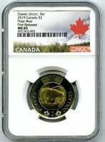 2019 CANADA $2 POLAR BEAR NGC MS65 FIRST RELEASES CLASSIC SET TOONIE !!
