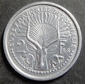 French Somaliland Somalia 2 Francs 1949 Very high grade + Key date Rare!