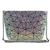 Fashion Holographic Laser Shoulder Bag Geometric Envelope Clutch Chain Crossbody
