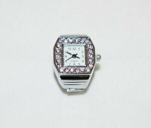 Fingeruhr Finger Uhr Fingerringuhr Ringuhr elegant Quartzuhr rosa modisch Uhr