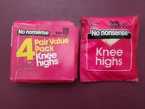 LOT of 2 Packs - Vintage -  No nonsense - Knee Highs - Tan/Off White - Sheer Toe