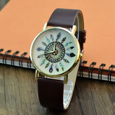 Fashion Women Watch Casual Brown Leather Band Feather Analog Quartz Wrist Watch