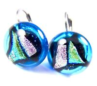"DICHROIC Glass Earrings Teal Blue Pink & Green Dots Euro Lever Dangle 1/2"" 12mm"