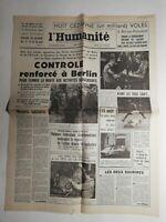 N399 La Une Du Journal L'humanité 14 août  1961 contrôle renforcer à Berlin