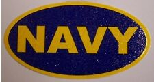 Window Bumper Sticker Military Navy text oval glitter NEW Decal