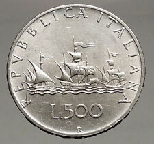 1961 Italy Christopher Columbus Ships Queen Isabella of Spain Silver Coin i56734