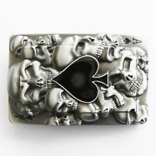 Ace of Spades w/ Skulls Poker Card Metal Belt Buckle