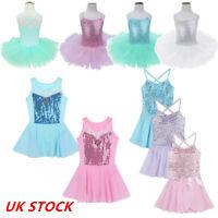 Kid Girl Ballet Dress Leotard Gymnastics Tutu Skirt Sequin Sleeveless Dance Wear