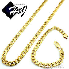 "36""MEN's Stainless Steel 6mm Gold Cuban Curb Link Chain Necklace Bracelet SETS"