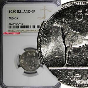 IRELAND Republic 1939 6 Pence NGC MS62 2 YEARS TYPE Irish Wolfhound KM# 13 (035)