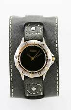 Fossil Watch Mens Gray Cuff Leather Stainless Steel Gold Silver 50m Black Quartz