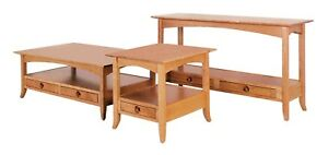 Amish Shaker Occasional Accent Tables Square Coffee, End, Sofa Wood Set of (3)