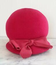 Vintage Antique 50s 60s Pink Hat Ladies Pink Wool Felt Cloche Hat Bow EUC