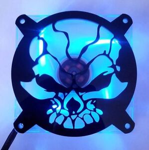 Custom 120mm FRACTURED SKULL Computer Fan Grill Gloss Black Acrylic Cooling Mod