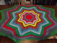 "Vintage Afghan UNIQUE STAR granny Handmade Crochet Quilt Throw Blanket 70"" LARGE"