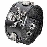 Men's Vintage Gothic Wide Leather Pirate Skull Bracelet Bangle Cuff Adjustale