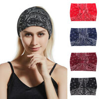 Women's Twist Knot Printed Elastic Hair Band Headband Head Wrap Bandana Turban