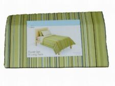 New Place New Space Green Stripe 2 Pc Duvet Cover Set Twin XL Cotton Bedding