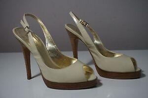 bebe Cream Patent Leather Open Toe Slingback Heels Size 7