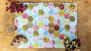 Rose Gold Marble Bee Honeycomb 40cm x 30cm Glass Chopping Board / Worktop Saver