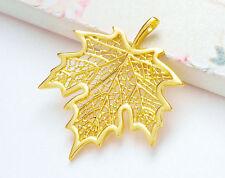 925 Sterling Silver 24k Gold Vermeil Style Maple Leaf Pendant.