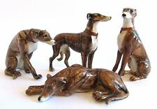 Miniature Porcelain Hand Painted Dog Figurine - Set/4 Greyhounds - Brown/Brindle