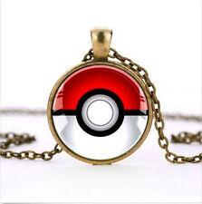 Clásico Animado Pokemon Pokeball Joyería Vidrio bronce Collar Con Colgante