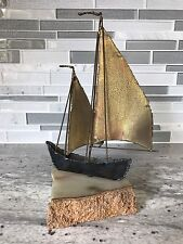 Vintage Brass Sailboat Sculpture Art On Quartz