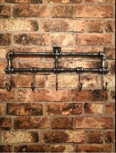 Vintage Industrial Style Wall Mounted Coat Hooks Rack Pegs Towel Rail Bathroom