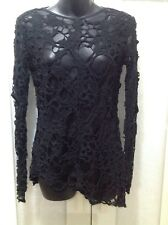 MANNING CARTELL 10 12 Black Lace Top Party Evening Hilo NWOT RP $380