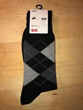 1 Pair Uniqlo Black Argyle Socks Mens Large New