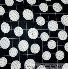 BonEful Fabric Fleece BTHY 1/2 Yd Girl Volleyball Black White B&W School Sport L