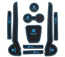 601- VW Volkswagen POLO INTERIOR MAT MATS ANTI SLIP HOLDER SILICONE Set 9pc BLUE