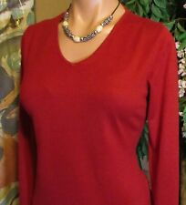 AUGUST SILK (sz.M/L) Comfortable Classic Pullover.Navy red.Cashmere+Silk+Cotton.