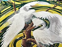 Island Egrets & Swirl Barkcloth Vintage Fabric Pillows Bags Miami Beach Birds