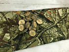 Ozark Trail Green  Brown Camo Fabric Shower Curtain with rustic leaves hooks