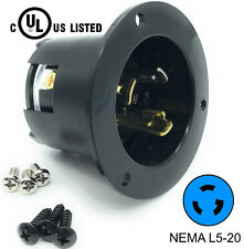 Black L5-20P Flanged Power Inlet Generator RV Plug 125 Volt Receptacle 20AMP