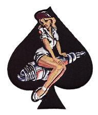 PIN UP GIRL SPARK PLUG SPADE 3.5 INCH IRON ON MC BIKER PATCH