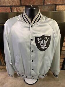 Vintage Las Vegas Raiders NFL Football Silver Snap Satin Jacket Mens Large Vtg