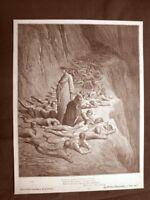 Incisione Gustave Dorè del 1890 Dante tra gli Avari Divina Commedia Purgatorio