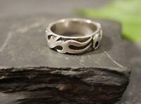 Groß verzierter 925 Silber Ring Unisex Mystisch Symbole Asiatisch Besonders Toll