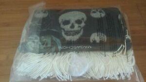 "Magaschoni Home Black & White Skull Print Fringed Throw Blanket 50"" x 60"""