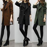 Elegant Women Slim Winter Warm Wool Lapel Long Coat Trench Parka Jacket Overcoat