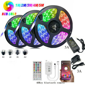 Bluetooth APP Control LED Strip light RGB 5M 10M Voice Music Sync power tape set