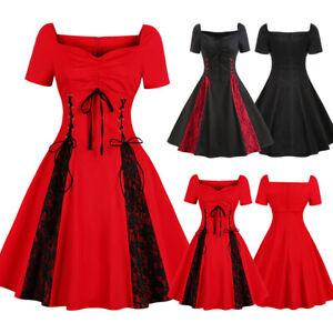 Women's 50s 60s Vintage Lace Xmas Skater Party Rockabilly Gothic Dress Plus Size