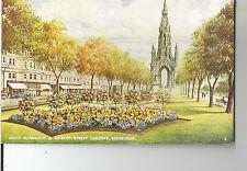 EDINBURGH 1970s vintage postcard - ART; SCOTT MONUMENT AND PRINCES STREET GARDEN